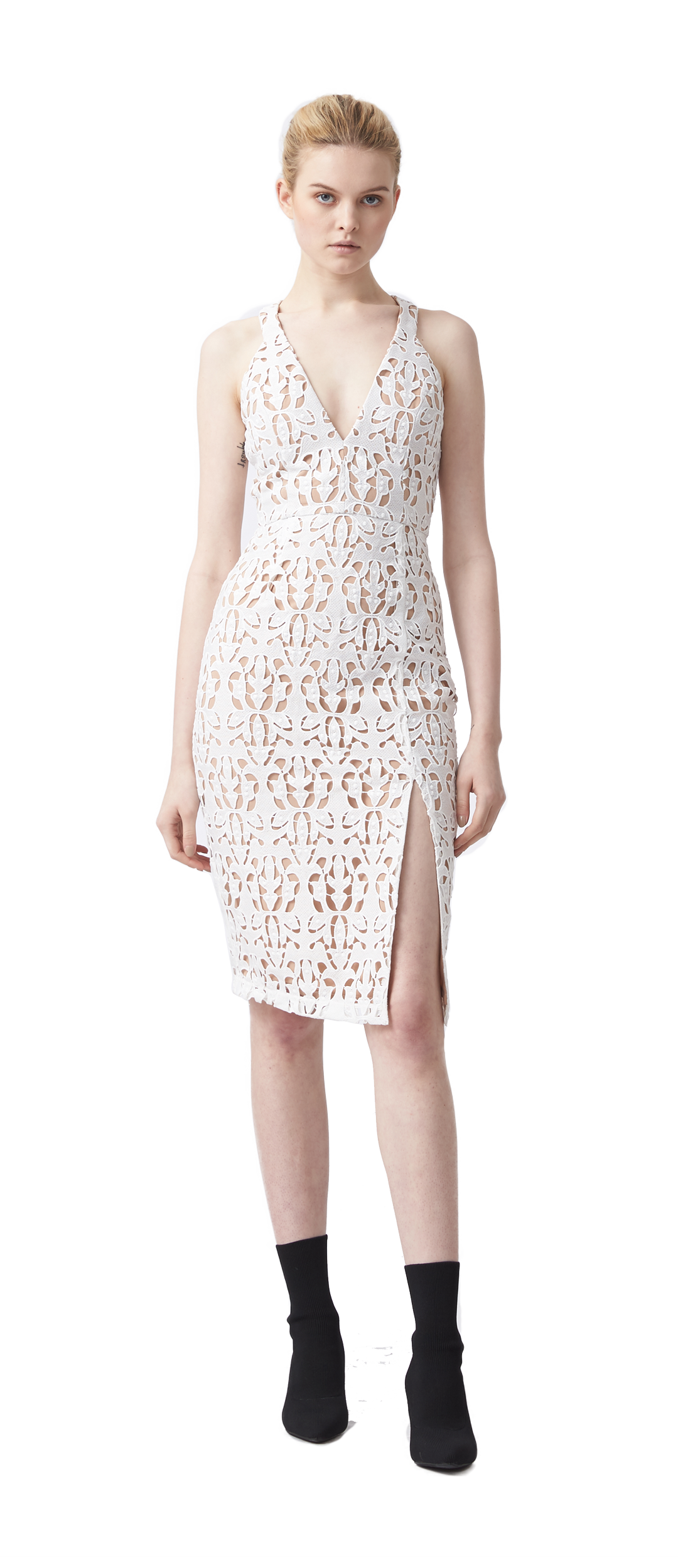 7455d0441c0524 LOVE IS EMBROIDERED PENCIL DRESS