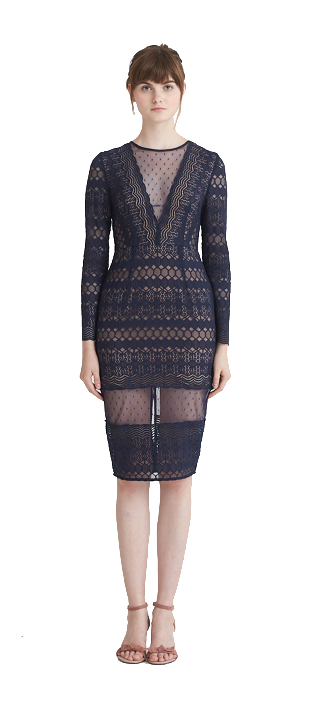 5664b7a0e8 RYLEE LACE LONG SLEEVE PENCIL DRESS  299.00